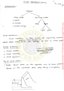 Fluid Mechanics and Hydraulic Machinery AE AEE Ace Handwritten Notes